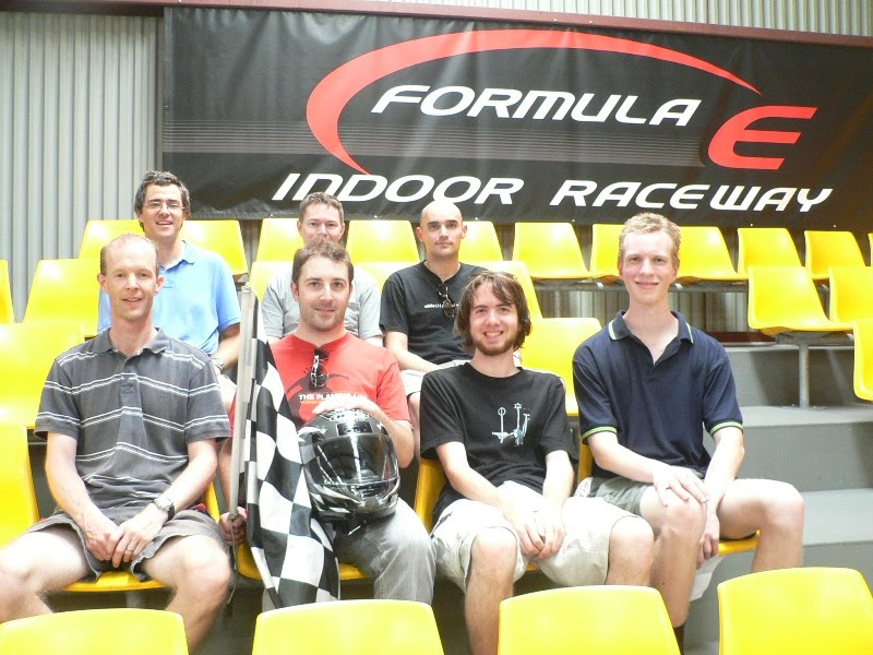 Seven Mozilla developers at Formula E racetrack