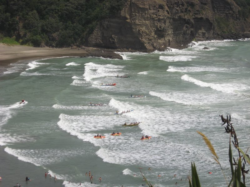 Surf boats at Piha